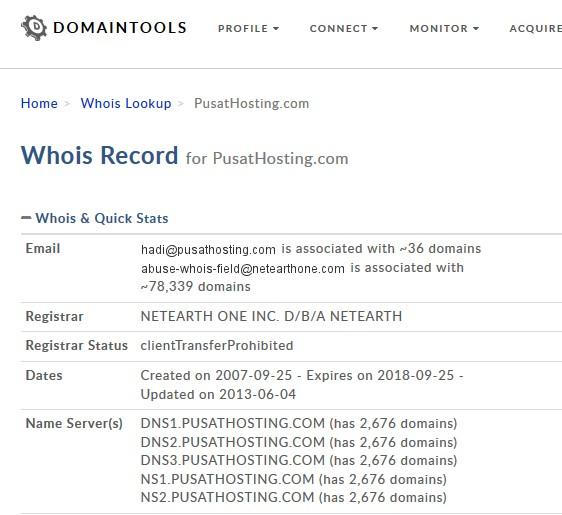Cek umur domain pusathosting domaintools