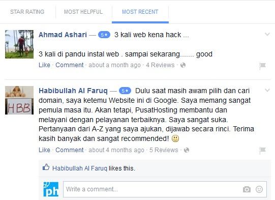 Testimonial pusathosting via facebook