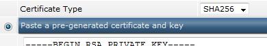 paste pre generated certificate key