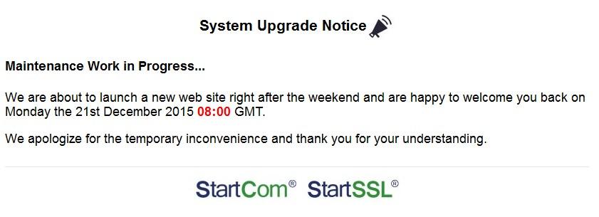 startssl maintenance page 21 Desember 2015