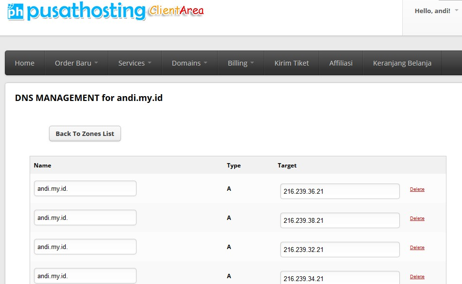 dns manajemen domain id pusathosting
