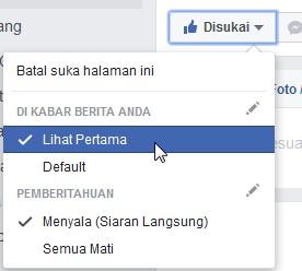facebook fans page lihat pertama