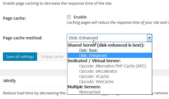 w3total cache page cache setting