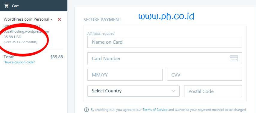 halaman-pembayaran-wordpress-personal-plan