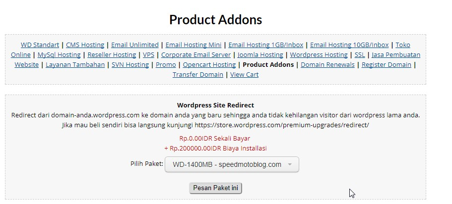 pemesanan-wordpress-site-redirect